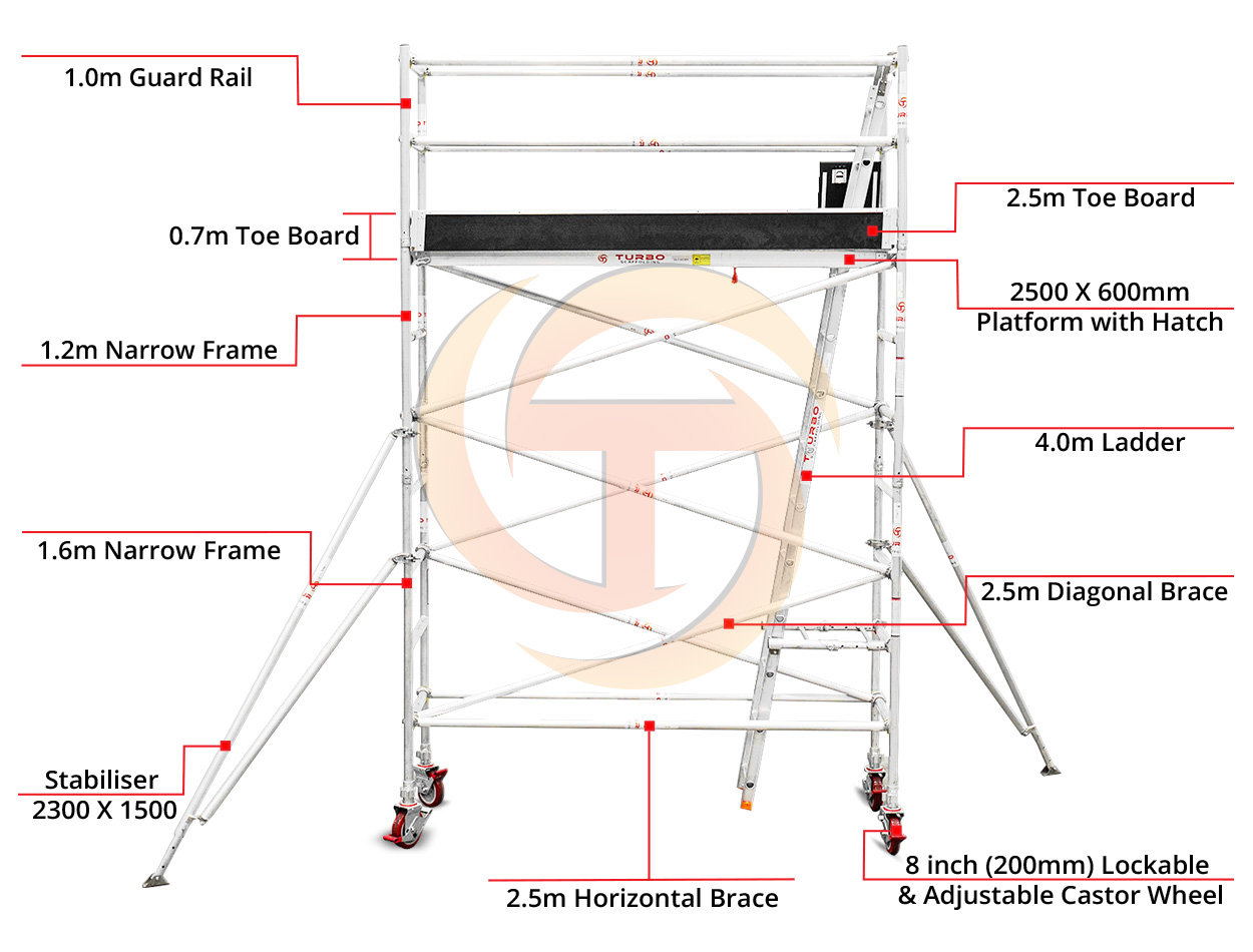 3.1m – 3.4m Narrow Aluminium Mobile Scaffold Tower (Standing Height)