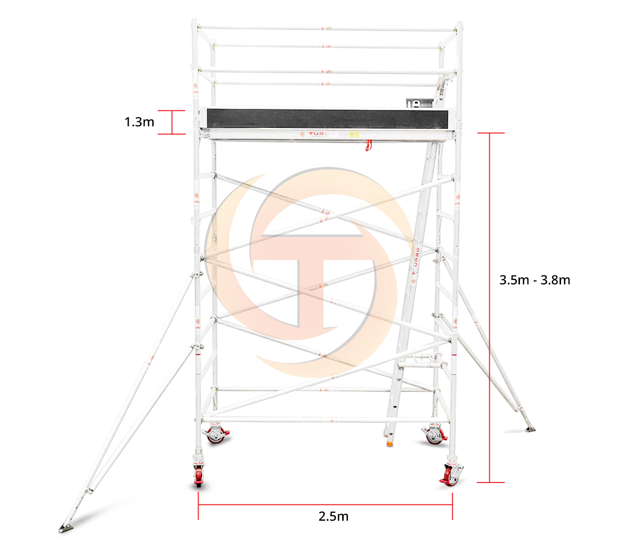 3.5m – 3.8m Wide Mobile Tower (Standing Height)