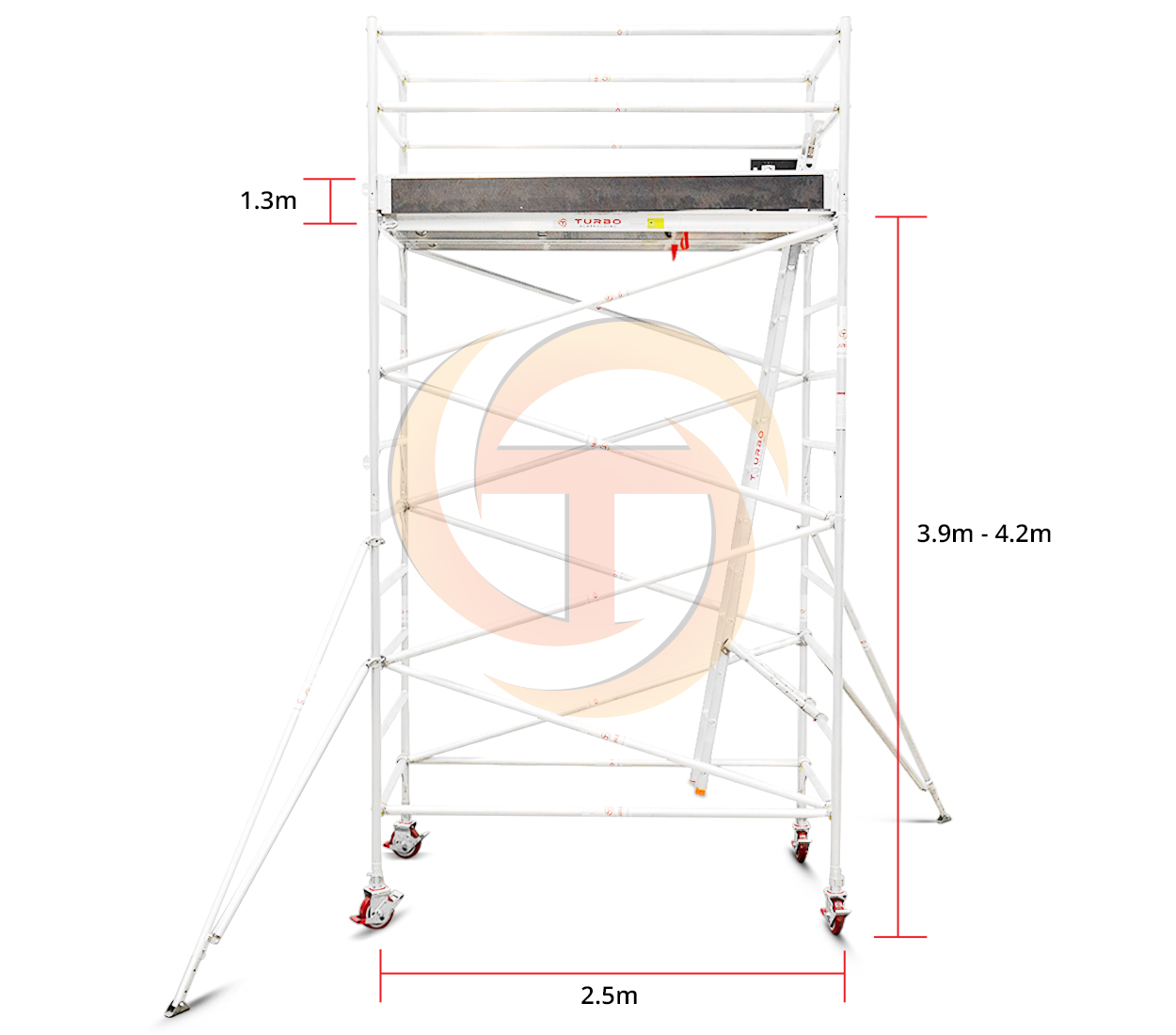3.9m – 4.2m Wide Aluminium Mobile Tower (Standing Height)