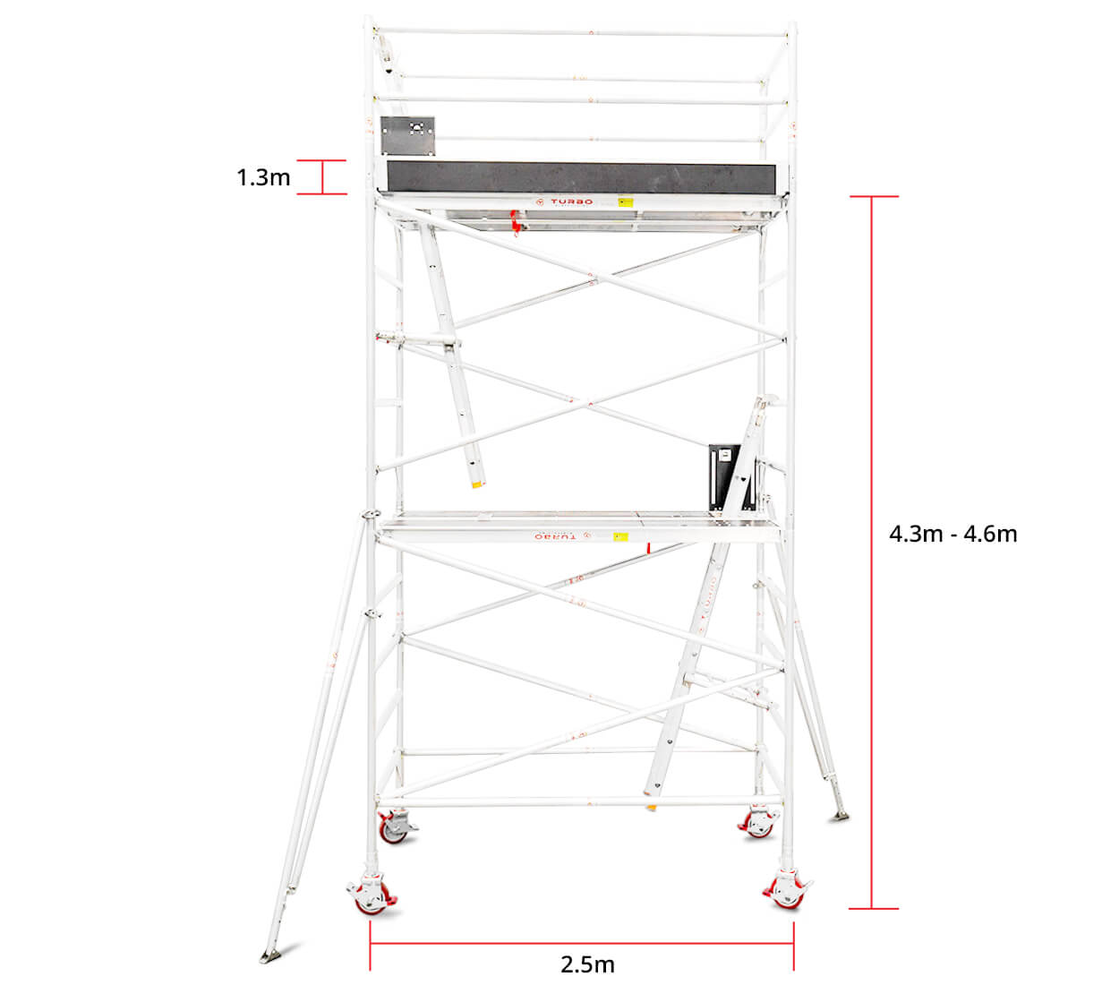 4.3m – 4.6m Wide Aluminium Mobile Scaffold Tower (Standing Height)