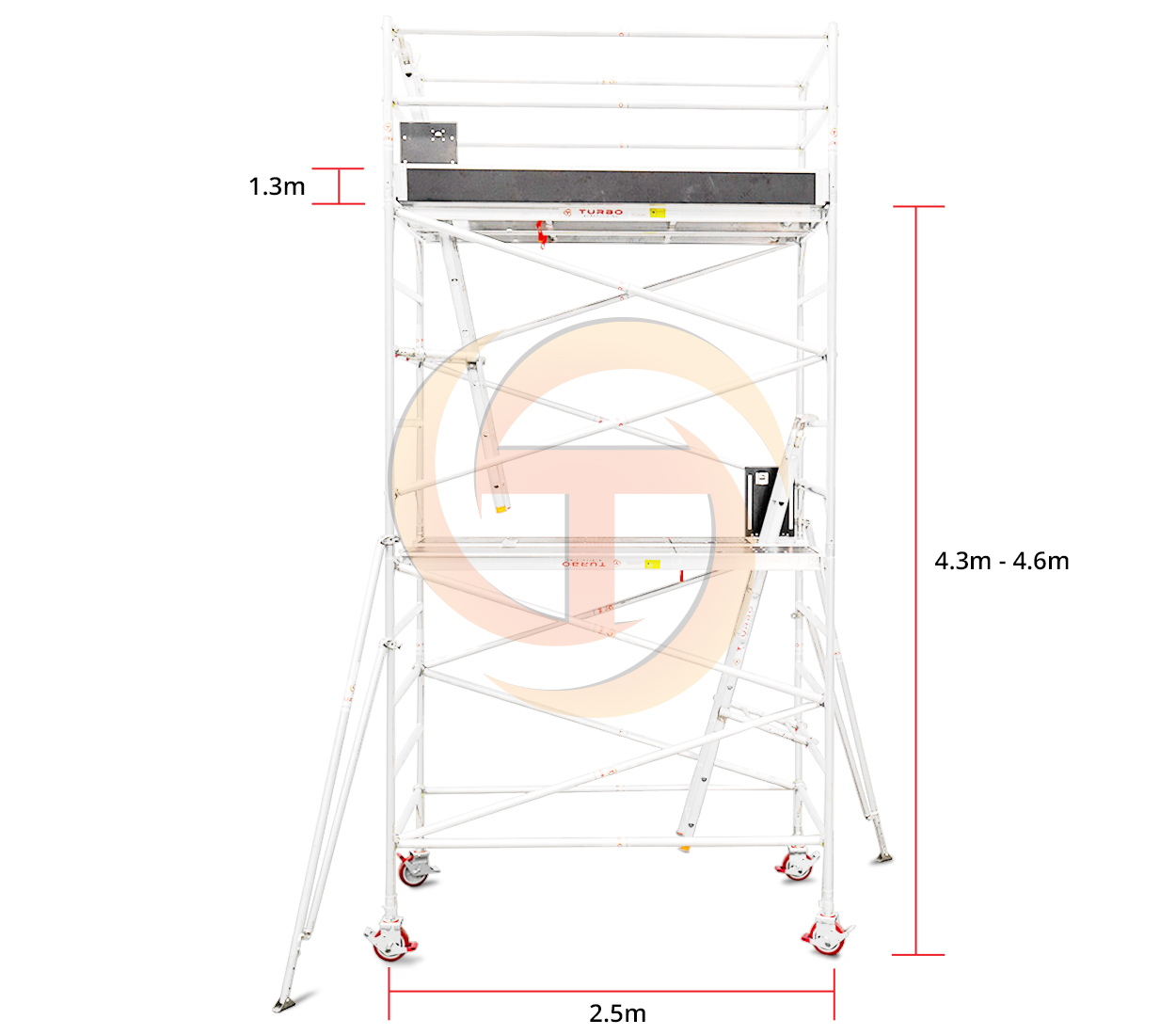 4.3m – 4.6m Wide Mobile Tower (Standing Height)