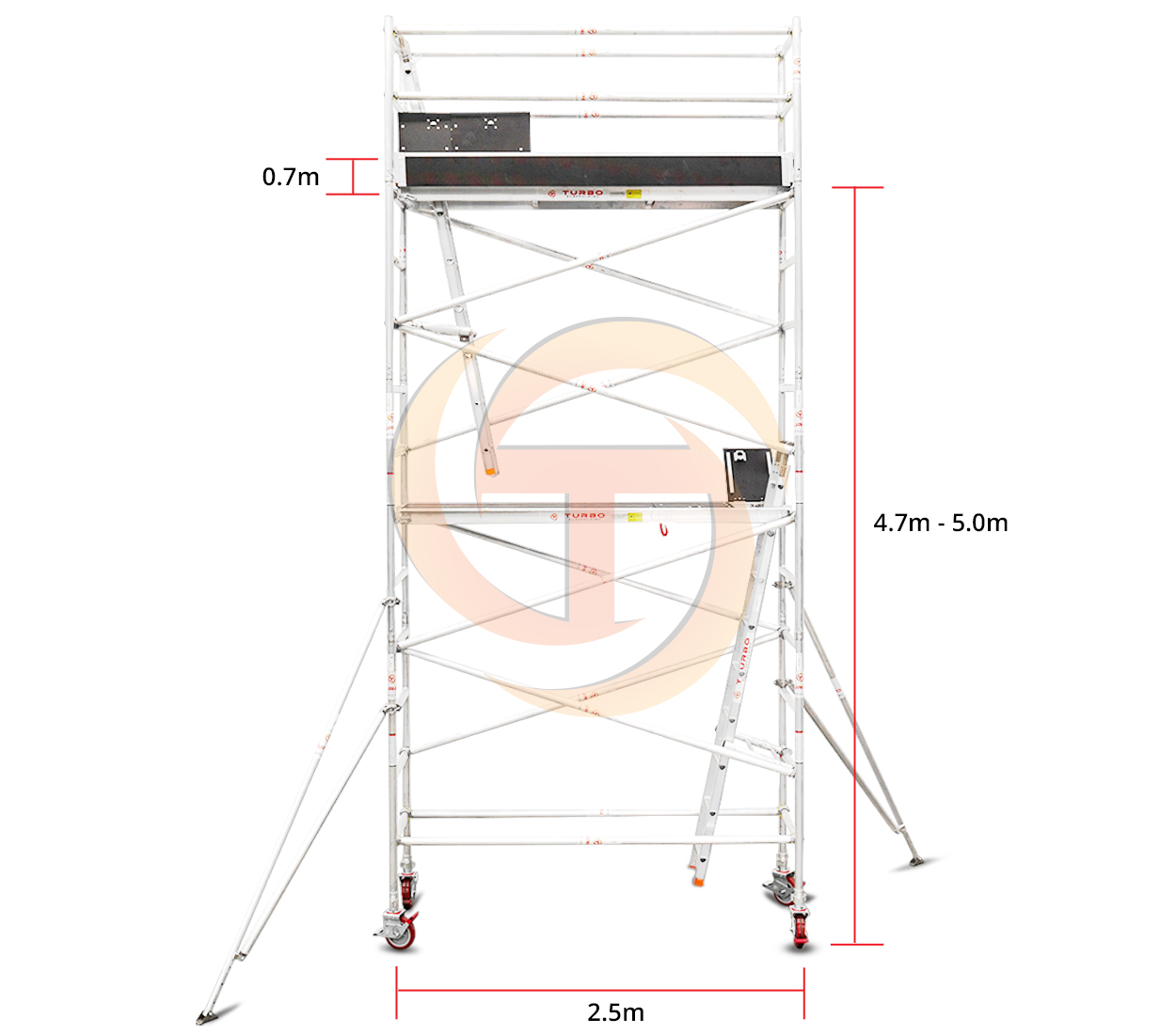 4.7m – 5.0m Narrow Mobile Tower (Standing Height)