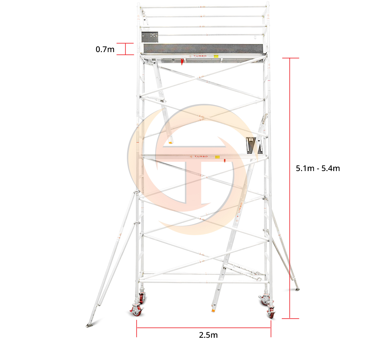 5.1m – 5.4m Narrow Mobile Tower (Standing Height)