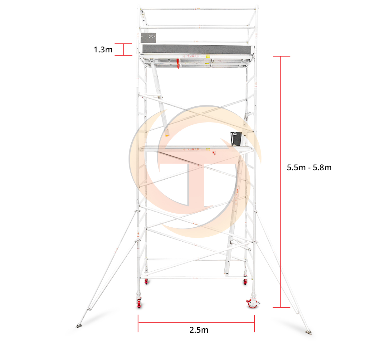 5.5m – 5.8m Wide Aluminium Mobile Tower (Standing Height)