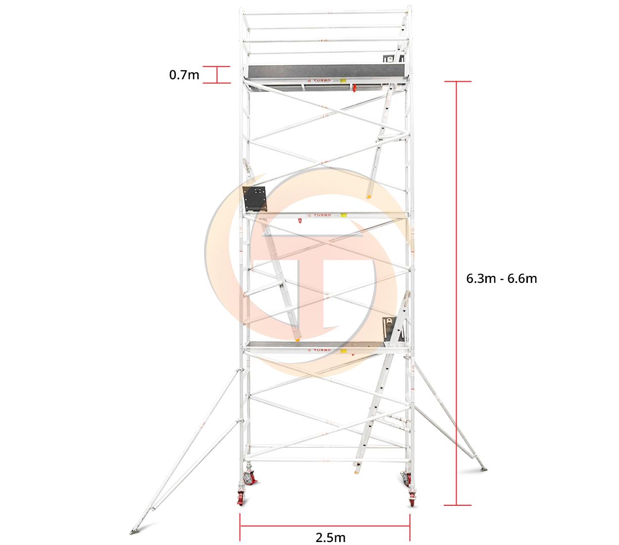 6.3m – 6.6m Narrow Aluminium Mobile Tower (Standing Height)