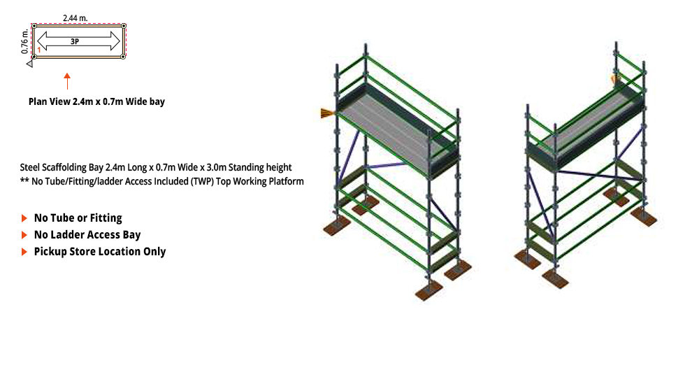 Kwikstage Scaffolding Package - 2.4M X 0.7M X 3.0M – ONE DECK