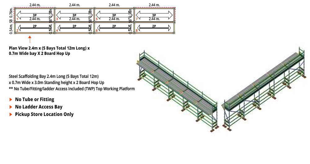 Kwikstage Scaffolding Package - 12M X 0.7M X 3.0M WITH HOPS UP ONE DECK