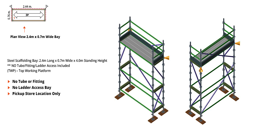Painted Kwikstage Scaffolding Package - 2.4M X 0.7M X 4.0M – ONE DECK