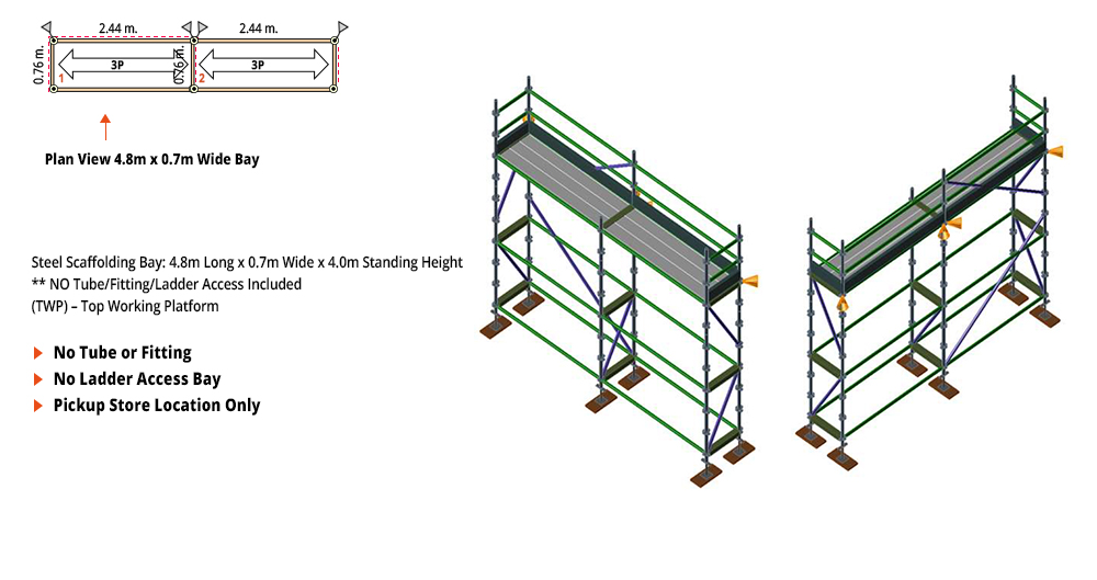 Kwikstage Scaffolding Package - 4.8M X 0.7M X 4.0M – ONE DECK