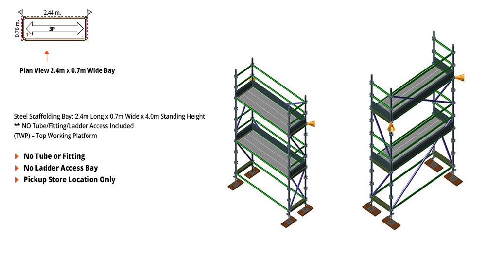 Painted Kwikstage Scaffolding Package - 2.4M X 0.7M X 4.0M – TWO DECK