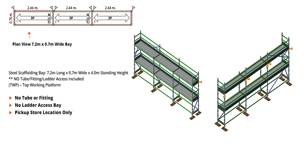 Kwikstage Scaffolding Package - 7.2M X 0.7M X 4.0M – TWO DECK