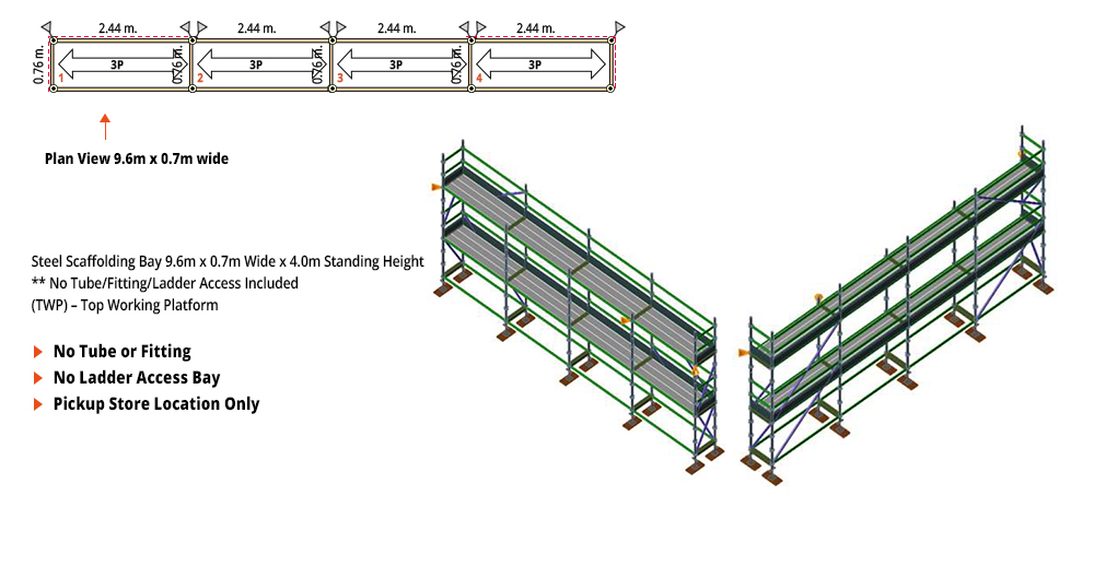 Painted Kwikstage Scaffolding Package - 9.6M X 0.7M X 4.0M – TWO DECK