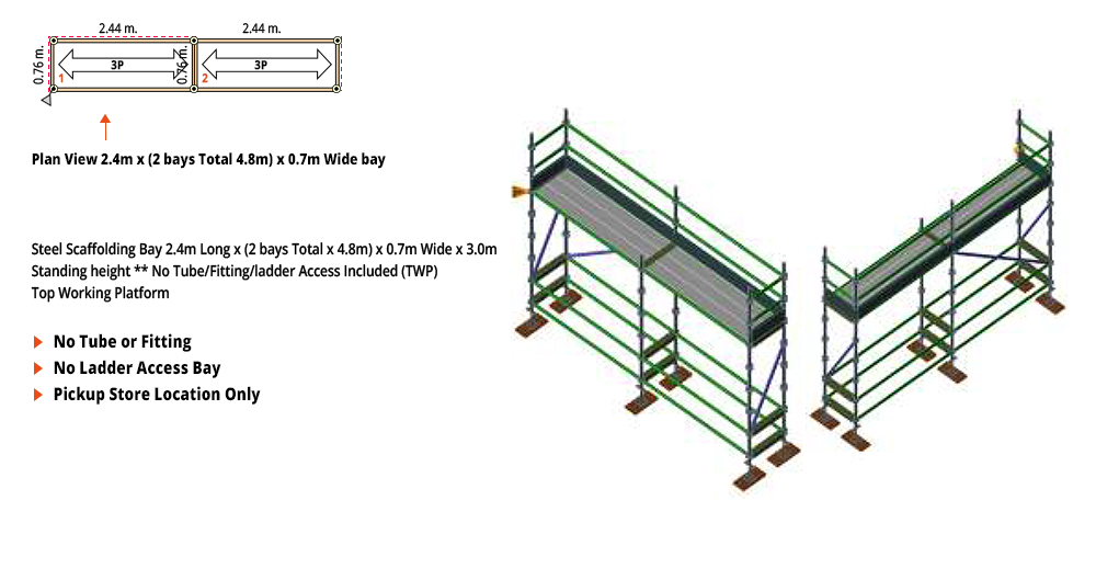 Painted Kwikstage Scaffolding Package -  4.8M X 0.7M X 3.0M – ONE DECK