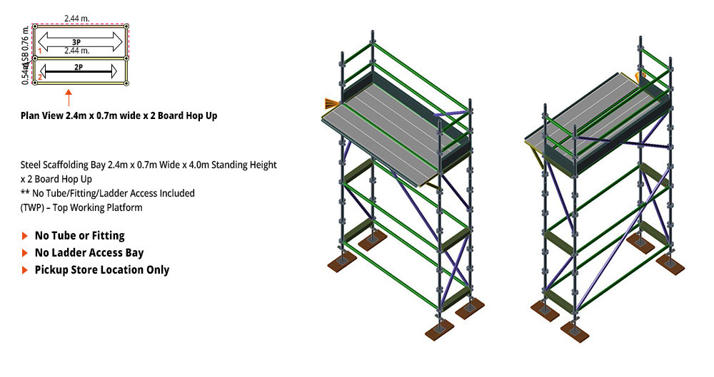 Painted Kwikstage Scaffolding Package - 2.4M X 0.7M X 4.0M WITH HOPS UP ONE DECK