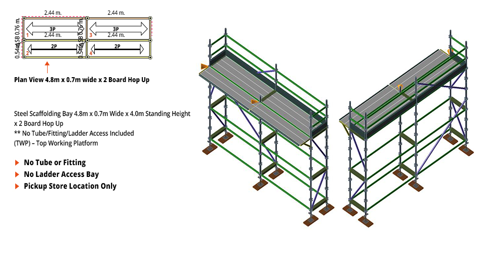 Kwikstage Scaffolding Package - 4.8M X 0.7M X 4.0M WITH HOPS UP ONE DECK