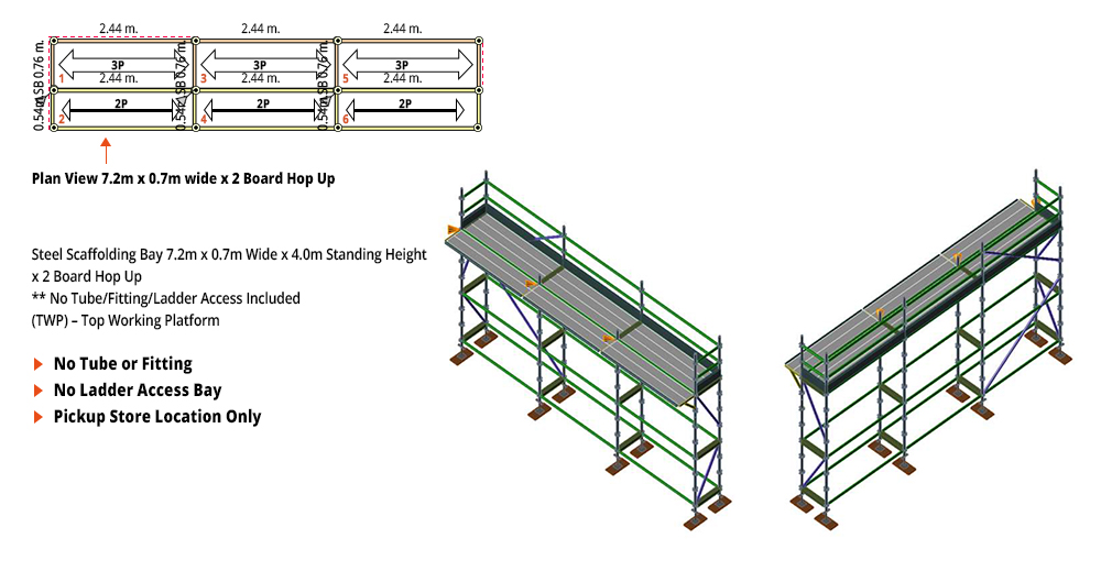 Kwikstage Scaffolding Package - 7.2M X 0.7M X 4.0M WITH HOPS UP ONE DECK