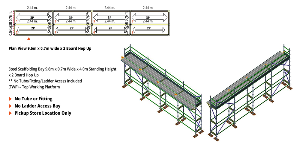 Kwikstage Scaffolding Package - 9.6M X 0.7M X 4.0M WITH HOPS UP ONE DECK