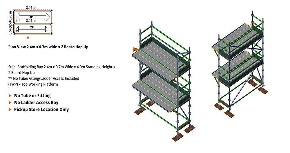 Kwikstage Scaffolding Package - 2.4M X 0.7M X 4.0M WITH HOPS UP TWO DECK