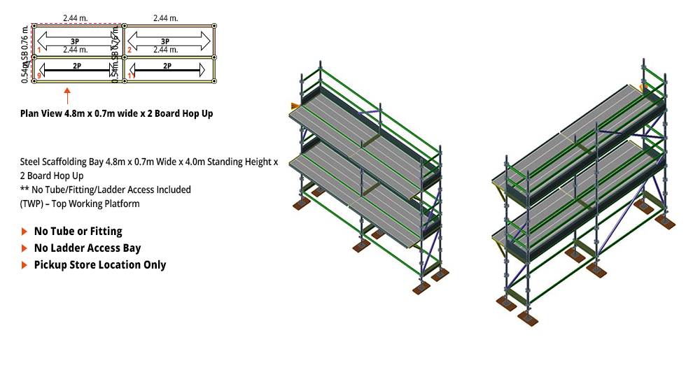 Painted Kwikstage Scaffolding Package - 4.8M X 0.7M X 4.0M WITH HOPS UP TWO DECK