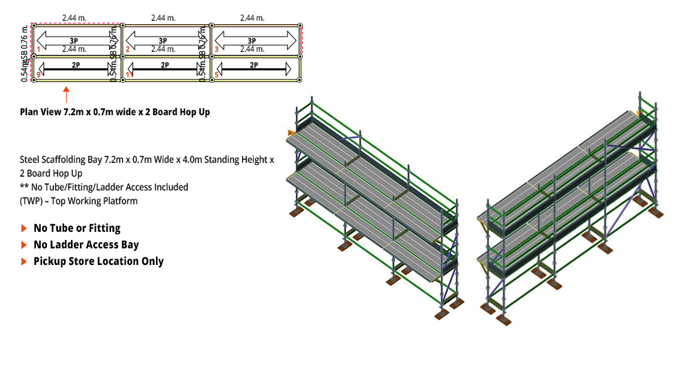 Kwikstage Scaffolding Package - 7.2M X 0.7M X 4.0M WITH HOPS UP TWO DECK