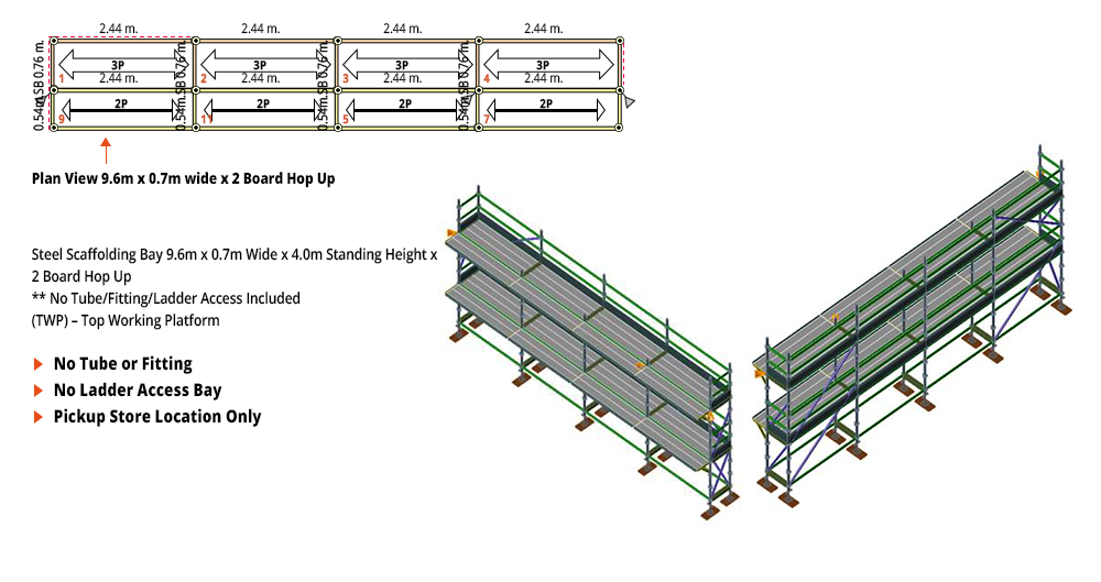 Kwikstage Scaffolding Package - 9.6M X 0.7M X 4.0M WITH HOPS UP TWO DECK