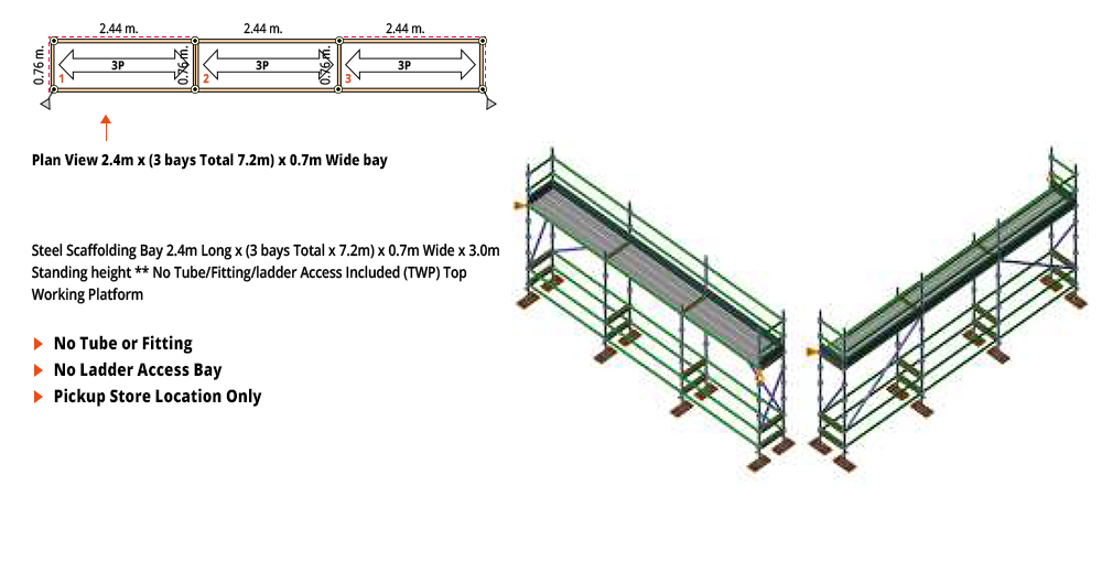 Kwikstage Scaffolding Package -  7.2M X 0.7M X 3.0M – ONE DECK