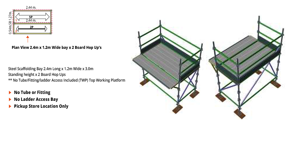 Kwikstage Scaffolding Package - 2.4M X 1.2M X 3.0M WITH HOPS UP ONE DECK