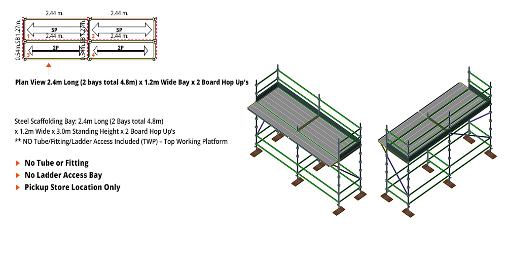 Kwikstage Scaffolding Package - 4.8M X 1.2M X 3.0M WITH HOPS UP ONE DECK