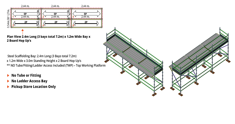Kwikstage Scaffolding Package - 7.2M X 1.2M X 3.0M WITH HOPS UP ONE DECK