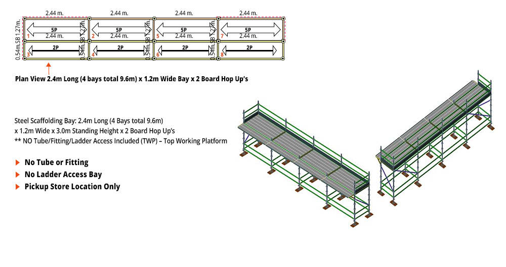 Kwikstage Scaffolding Package - 9.6M X 1.2M X 3.0M WITH HOPS UP ONE DECK