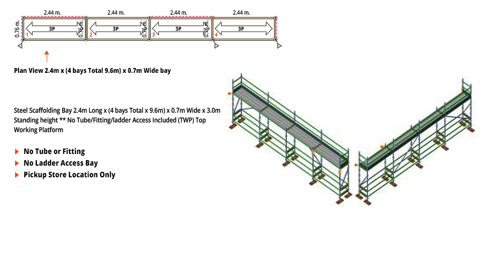 Painted Kwikstage Scaffolding Package -  9.6M X 0.7M X 3.0M – ONE DECK