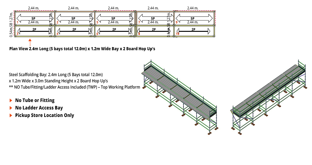 Kwikstage Scaffolding Package - 12M X 1.2M X 3.0M WITH HOPS UP ONE DECK