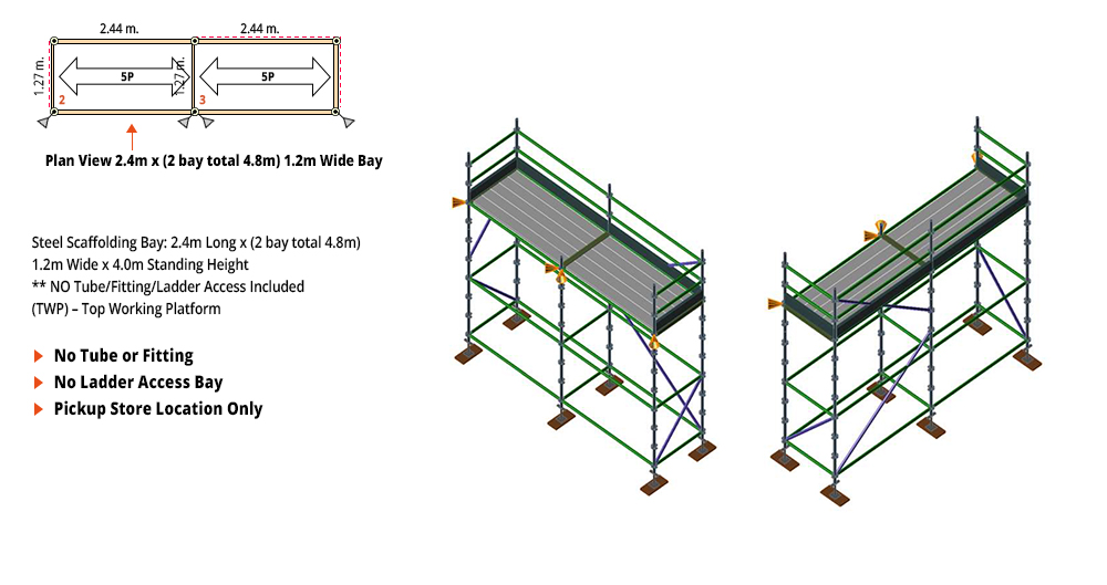 Kwikstage Scaffolding Package - 4.8M X 1.2M X 4.0M – ONE DECK