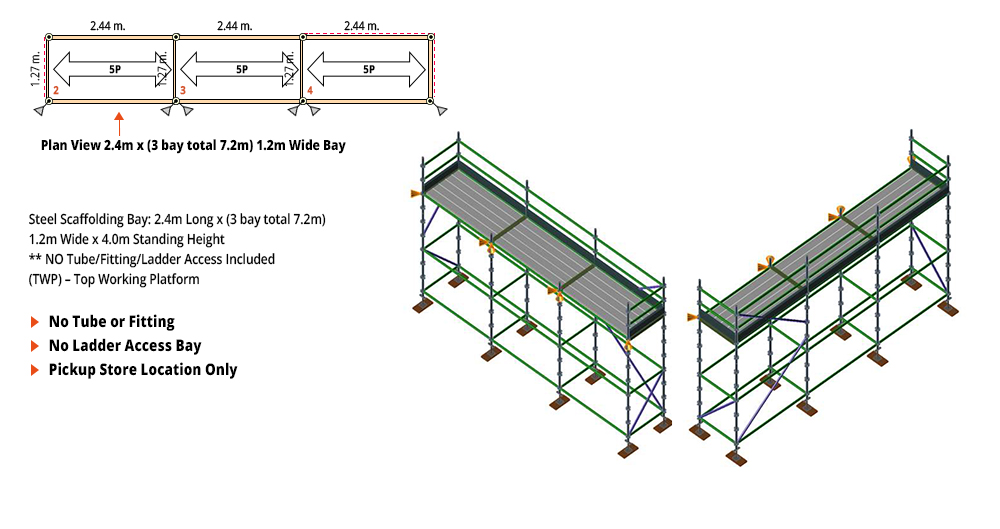 Kwikstage Scaffolding Package - 7.2M X 1.2M X 4.0M – ONE DECK