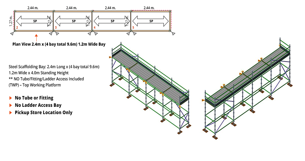 Painted Kwikstage Scaffolding Package - 9.6M X 1.2M X 4.0M – ONE DECK