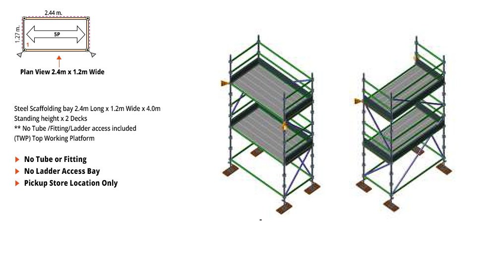 Kwikstage Scaffolding Package - 2.4M X 1.2M X 4.0M – TWO DECK