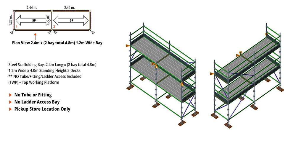 Kwikstage Scaffolding Package - 4.8M X 1.2M X 4.0M – TWO DECK