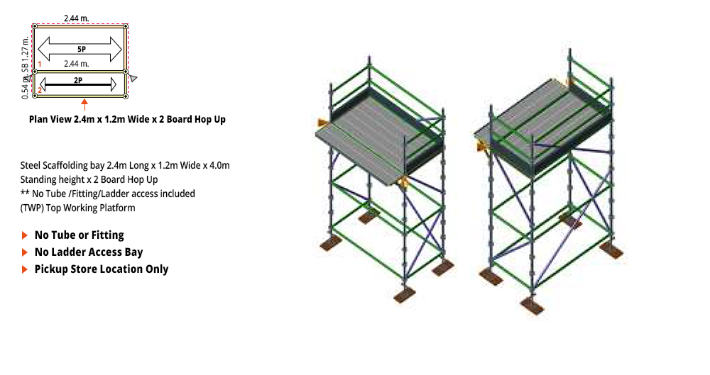 Kwikstage Scaffolding Package - 2.4M X 1.2M X 4.0M WITH HOPS UP ONE DECK