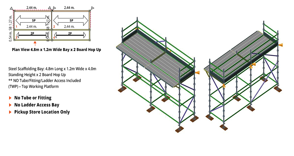 Painted Kwikstage Scaffolding Package - 4.8M X 1.2M X 4.0M WITH HOPS UP ONE DECK