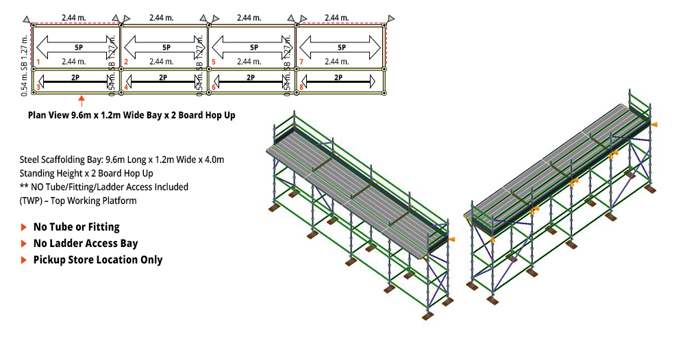 Kwikstage Scaffolding Package - 9.6M X 1.2M X 4.0M WITH HOPS UP ONE DECK