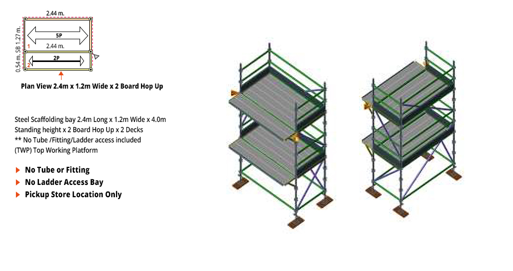 Kwikstage Scaffolding Package - 2.4M X 1.2M X 4.0M WITH HOPS UP TWO DECK