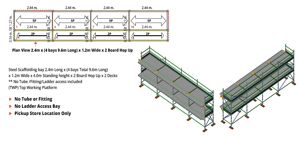 Kwikstage Scaffolding Package - 9.6M X 1.2M X 4.0M WITH HOPS UP TWO DECK