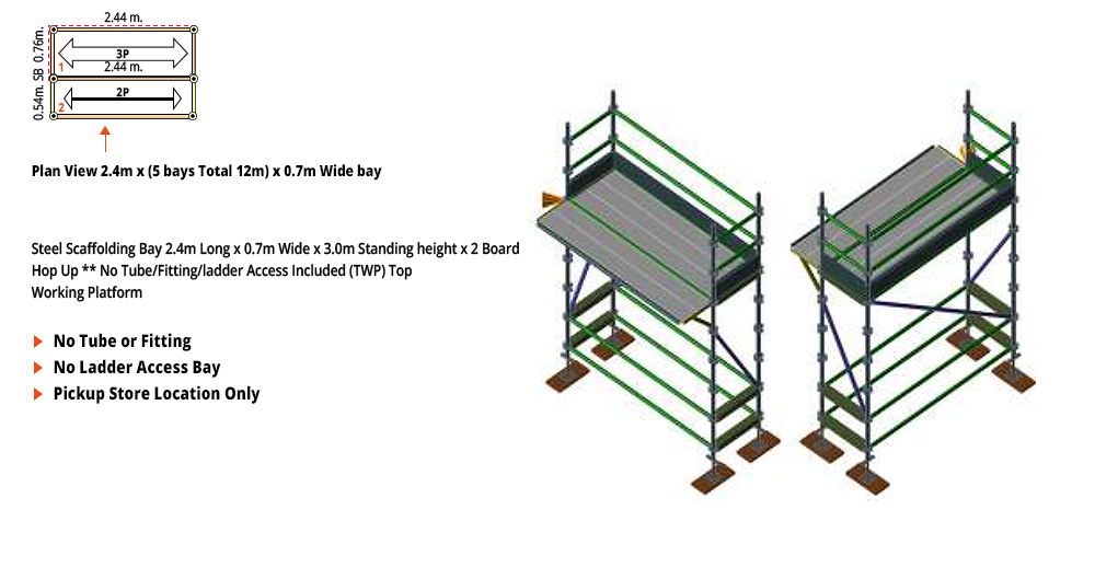 Kwikstage Scaffolding Package - 2.4M X 0.7M X 3.0M WITH HOPS UP ONE DECK
