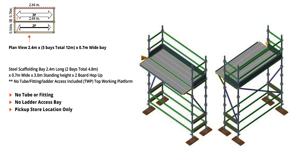 Kwikstage Scaffolding Package - 4.8M X 0.7M X 3.0M WITH HOPS UP ONE DECK