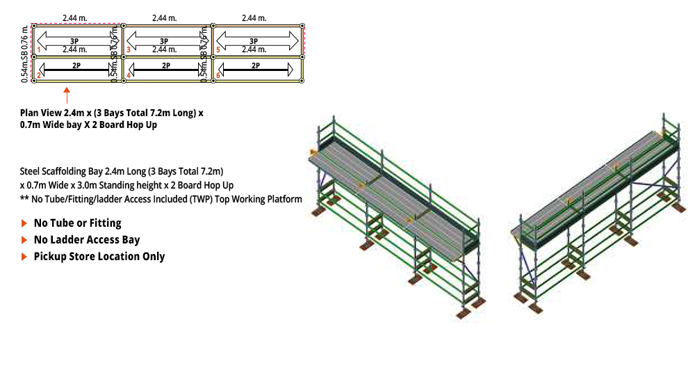 Painted Kwikstage Scaffolding Package - 7.2M X 0.7M X 3.0M WITH HOPS UP ONE DECK