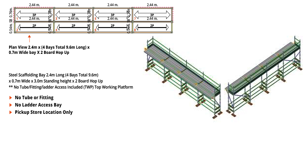 Kwikstage Scaffolding Package - 9.6M X 0.7M X 3.0M WITH HOPS UP ONE DECK